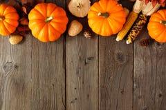 Beira superior do outono das abóboras e da decoração na madeira rústica fotos de stock royalty free