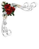 Beira vermelha das rosas do convite do casamento Fotografia de Stock Royalty Free