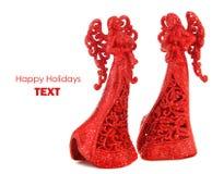 Beira vermelha do Natal dos anjos Imagens de Stock