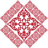 Beira vermelha do quadro do ornamento do teste padrão do papel de parede Fotografia de Stock