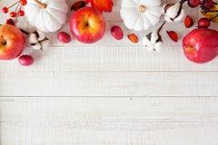 Beira vermelha e branca da parte superior do outono com maçãs & abóboras na madeira branca foto de stock