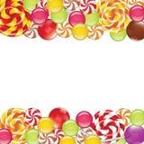 Beiras com doces e pirulitos Imagem de Stock Royalty Free