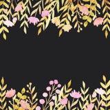 Beiras da aquarela com flores e folhas ilustração royalty free