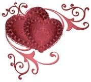 Beiras decorativas com corações Corações vermelhos românticos com beiras e quadros dourados do laço dos ornamento florais Coraçõe Fotos de Stock Royalty Free