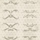 Beiras decorativas da caligrafia, regras decorativas, divisores Fotos de Stock Royalty Free