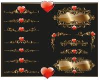 Beiras e cantos com corações Foto de Stock Royalty Free