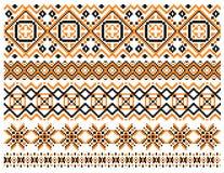 Beiras e quadros geométricos do bordado Imagem de Stock