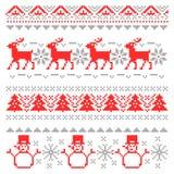 Beiras escandinavas tradicionais do pixel do Natal ilustração stock