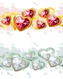 Beiras sem emenda do ouro e da prata feitas dos corações Fotografia de Stock Royalty Free