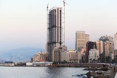 Beiroet Corniche bij Schemer Royalty-vrije Stock Fotografie