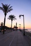 Beiroet Corniche bij Schemer Stock Afbeelding