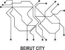 Beirut City map. Beirut subway map available in vector file format Stock Image