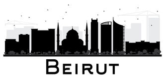 Beirut City skyline black and white silhouette. Royalty Free Stock Images