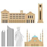 Beirut City skyline silhouette. Flat lebanese tourism icon banner, postcard. Lebanon travel concept. Cityscape with landmarks arch. Itecture Stock Photos