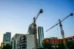 Beirut Common Multi Level Apartment Cranes 02 royalty free stock photo