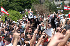 beirut hezboullahprotest arkivbilder