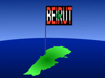 Beirut on Lebanese map Stock Photos