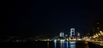 Beirut, Lebanon. A nighttime view of the middle-eastern city overlooking the mediterranean sea Stock Photography
