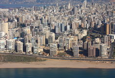 Beirut, Lebanon. Aerial view of Beirut looking over ramlet el-Baida beach area across the city Royalty Free Stock Photo