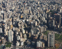Beirut, Lebanon. Aerial veiw of the city of Beirut looking at the Manara area of Ras Beirut with Hamra st. snaking into the distance Royalty Free Stock Image