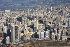 Beirut, Lebanon. Aerial veiw of the city of Beirut looking across all the way to the port Stock Image