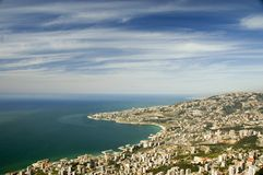 Beirut, Lebanon. View at the sea form Jounieh, Lebanon Royalty Free Stock Images