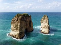 Beirut, Lebanon. Pigeon rocks of the coast of Beirut, Lebanon Royalty Free Stock Image