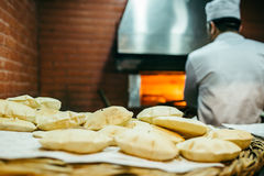 Beirut, Lebanon. Bread making at a restaurant in Beirut - Lebanon Royalty Free Stock Images