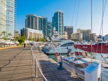 Zaitunay Bay in Beirut, Lebanon. BEIRUT, LEBANON - MAY 22, 2017 - View of Zaitunay Bay, Beirut`s leisure and entertainment destination royalty free stock image