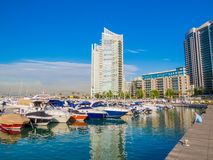 Zaitunay Bay in Beirut, Lebanon. BEIRUT, LEBANON - MAY 22, 2017 - View of Zaitunay Bay, Beirut`s leisure and entertainment destination royalty free stock photography