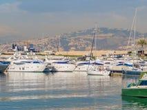 Zaitunay Bay in Beirut, Lebanon. BEIRUT, LEBANON - MAY 22, 2017 - View of Zaitunay Bay, Beirut`s leisure and entertainment destination royalty free stock image