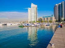 Zaitunay Bay in Beirut, Lebanon. BEIRUT, LEBANON - MAY 22, 2017 - View of Zaitunay Bay, Beirut`s leisure and entertainment destination royalty free stock photo