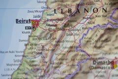 beirut mapa Lebanon Obraz Stock