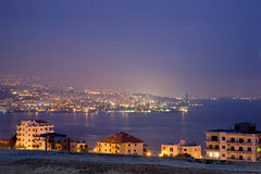 Beirut at night. View  of Beirut from a suburb north of the city Stock Photography