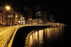 Beirut at Night (Lebanon). Strolling along the seaside Promenade (the Corniche) a favoured Beiruti pastime Stock Image