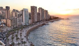 Beirut på solnedgången Royaltyfria Foton