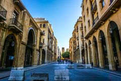 Beirut Place De L`Etoile 01. Beirut Place De L`Etoile Nijmeh Square Awesome Picturesque Street Clock Tower stock image