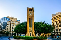 Beirut Place De L`Etoile 03. Beirut Place De L`Etoile Nijmeh Square Awesome Picturesque Street Clock Tower stock photography
