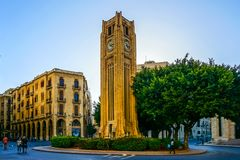Beirut Place De L`Etoile 02. Beirut Place De L`Etoile Nijmeh Square Awesome Picturesque Street Clock Tower stock photos