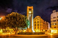 Beirut Place De L`Etoile 06. Beirut Place De L`Etoile Nijmeh Square Street Clock Tower at Night stock photography