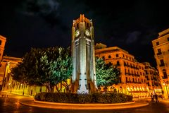 Beirut Place De L`Etoile 07. Beirut Place De L`Etoile Nijmeh Square Street Clock Tower at Night royalty free stock photos