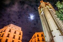 Beirut Place De L`Etoile 08. Beirut Place De L`Etoile Nijmeh Square Street Clock Tower at Night royalty free stock photography