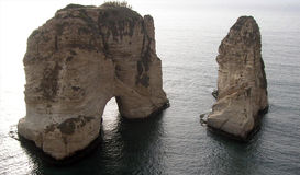 Beirut's coast. Two cliffs in the sea at Beirut's coast Stock Photos