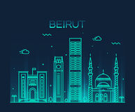 Beirut skyline trendy vector illustration linear Royalty Free Stock Photography