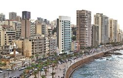 Beirut Skyline on a white background Stock Images