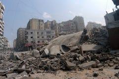 Beirute sob o bombardeio fotografia de stock