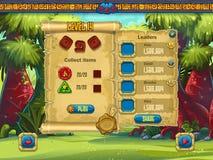 Beispiel der Einstellung des Niveaus des Fensters für ein Computerspiel lizenzfreie abbildung