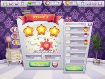 Beispiel des Abschlusses des Niveaus in den Monstern eines Computerspiels stock abbildung