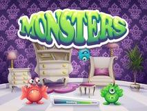 Beispiel des Ladenschirmes für die Spiel Monster vektor abbildung