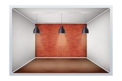 Beispiel des leeren Raumes mit Backsteinmauer stock abbildung